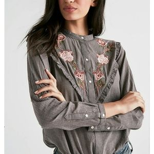 Lucky Brand Embroidered Western Shirt Button Down